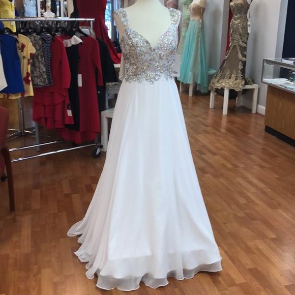 Tiffany Designs Dresses & Skirts - White prom dress with rhinestones